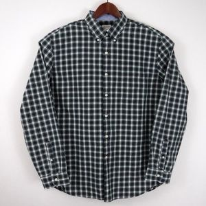 Nautica Blue Plaid Oxford Shirt Mens Size Large